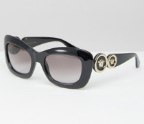 Katzenaugen-Sonnenbrille mit seitlicher Medusakopfverzierung Schwarz