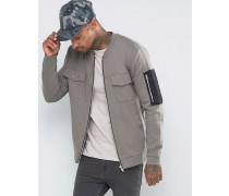 Übergroße Jersey-Bomberjacke mit gewebter MA1-Tasche Grau