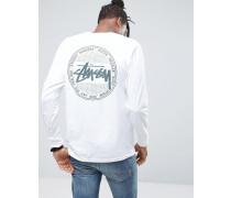 Langärmliges Shirt mit Vintage-Print auf der Rückseite Weiß