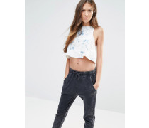 Kurzes Jeans-Oberteil mit Batikmuster Blau
