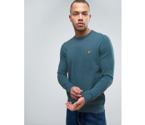 Crew Jumper Cotton Merino Knit Eagle Logo in Teal Blau