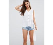 Langes ärmelloses Hemd Weiß