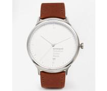 Helvetica Uhr mit Armband aus Leder Braun