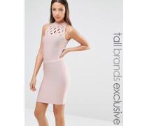 Bandage-Kleid mit Gitterdesign Rosa