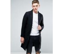 Mantel aus schwarzer Wolle Schwarz