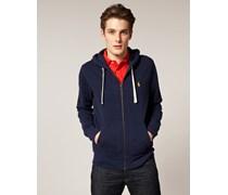 Unifarbener Jersey-Kapuzenpullover mit Reißverschluss Blau