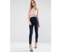 Schmal geschnittene Hose mit hoher Taille Marineblau