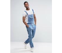 Mittelblaue Jeans-Latzhose mit Retro-Tasche auf der Vorderseite Blau