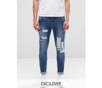 Brooklyn Supply Co Dumbo Jeans im Used-Look in Indigo mit Flicken Marineblau