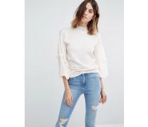 Pullover mit Rüschenärmeln Cremeweiß