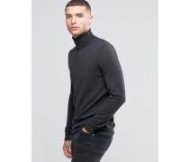 Pullover aus Kaschmirwollmischung mit Rollkragen Grau