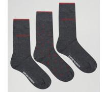 Socken im 3er-Pack in Geschenkbox Grau