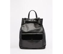 Schlichter Rucksack mit Taschen Schwarz