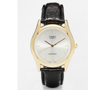 LTP-1154PQ-7AEF Uhr mit Kroko-Armband und goldenem Ziffernblatt Schwarz