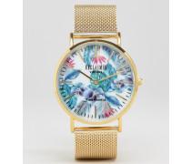 Uhr mit Netzarmband in Gold und geblümten Zifferblatt Gold