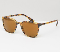 Eckige Sonnenbrille in Schildpatt Braun