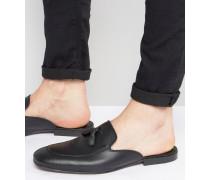 Slipper aus schwarzem Leder Schwarz