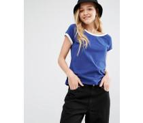Ringer-T-Shirt mit weitem Ausschnitt Blau