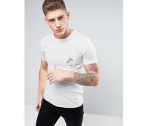 Brooklyn Supply Co Gestreiftes T-Shirt mit Tasche und Palmenstickerei Grau