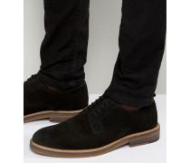 Derby-Schuhe aus schwarzem Wildleder mit Natursohle Schwarz