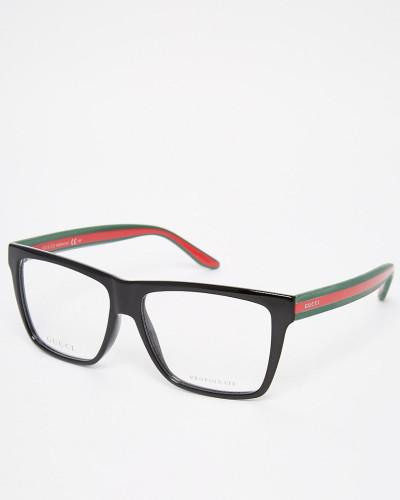 gucci herren eckige brille mit klaren gl sern und. Black Bedroom Furniture Sets. Home Design Ideas