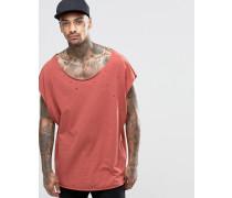 Ärmelloses super Oversized-T-Shirt im Distressed-Look mit U-Ausschnitt Rot