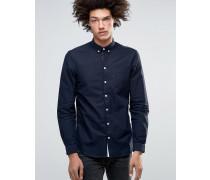 Jay Klassisches, schmal geschnittenes Oxford-Hemd mit Knopfverschluss Marineblau
