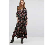 Geblümtes, langärmliges Maxi-Hemdkleid im Boho-Stil Schwarz