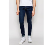 Form Superenge Jeans mit Stretch in Mittelblau Blau