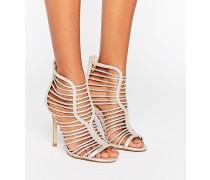 Metallic-Sandalen mit Riemchendesign und Absatz Beige