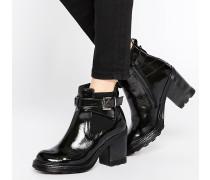 Chelsea-Stiefel mit breitem Absatz Schwarz