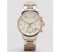Zweifarbige Chronographen-Uhr AX4331 Silber