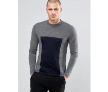 Pullover mit Blockstreifen Grau
