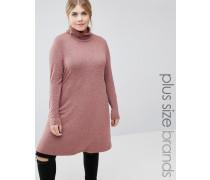 Langärmliges Kleid mit Rollkragen Rot
