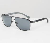 Pilotensonnenbrille mit Seitendetails Schwarz