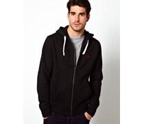 Unifarbener Jersey-Kapuzenpullover mit Reißverschluss Schwarz