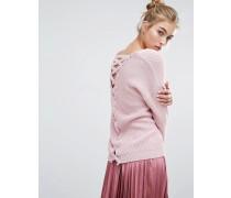 Pullover mit Gitter-Design auf der Rückseite Rosa