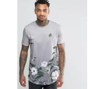 T-Shirt mit Blumenmuster und abgerundetem Saum Grau