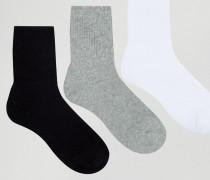 3er Pack Stiefeletten-Socken Schwarz