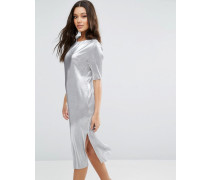 Plissiertes T-Shirt-Kleid Grau