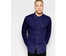 Schmal geschnittenes Langarmshirt Blau