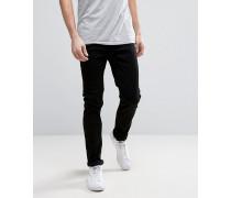 Schmal geschnittene, schwarze Stretch-Jeans Schwarz