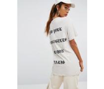 Oversized-T-Shirt mit Textprint Cremeweiß