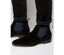 Martime Chelsea-Stiefel aus Wildleder Schwarz