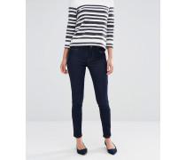 Enge Röhren-Jeans mit mittelhohem Bund in Rinse-Waschung Blau