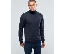 Gerippter Pullover mit Rollkragen Marineblau