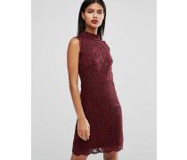 Latoya Hochgeschlossenes Minikleid aus Spitze Rot