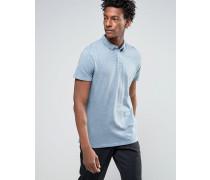 Überfärbtes Polohemd aus Jersey in schmaler Passform Blau