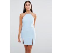 Minikleid mit eckigem Ausschnitt und Schlitz Blau