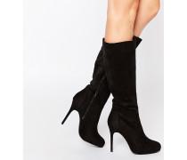 Brandi Schwarze, kniehohe Stiefel mit hohem Absatz Schwarz